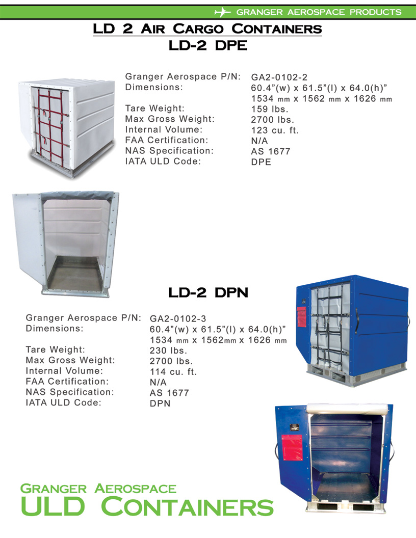 LD 2, LD 2 Air Cargo Container, DPE, DPN, LD 2 Air Freight, ULD 2, Granger Aerospace LD 2